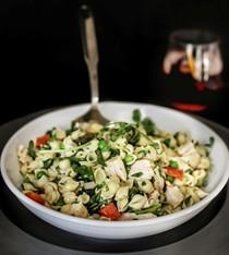 Early summer chicken pasta salad with lemon vinaigrette