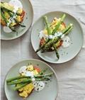 Eggs & roasted asparagus with lemon-tarragon sabayon