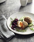 Eggs with dukkah, green tahini and cultured beetroot