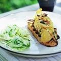 Escabeche on bruschetta with shaved fennel salad