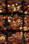 Extra nutty dark chocolate fudge brownies