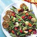 Arugula and peach salad with creamy chive vinaigrette (page 79)