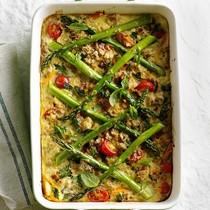 Farro, cherry tomato, and asparagus casserole