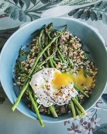 Farro with asparagus, chili, & egg