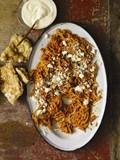 Fideo noodles in chipotle-tomato sauce (Sopa seca de fideo)