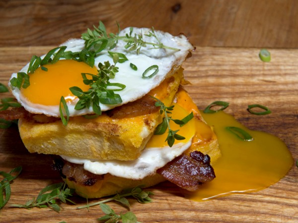 French toast with bacon stack