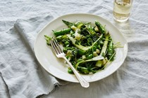 Fresh raw pea, asparagus & fava bean salad with herbs and pecorino