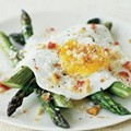 Fried eggs with asparagus, pancetta, and bread crumbs