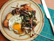 Fried eggs with ramps, morels, and bacon