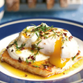 Fried halloumi with garlic yogurt, dill chilli butter and a poached duck egg