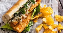 Fried trout sandwiches with pear-ginger-cilantro slaw and spicy mayo