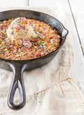 Funfetti skillet cookie with white chocolate chips