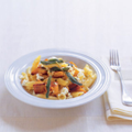 Garganelli with pumpkin, crispy sage and goat's cheese