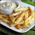 Garlic-Parmesan fries with herb-mayo dip
