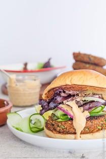 Ginger, carrot and quinoa vegetarian burger patties