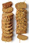 Gluten-free and gluten-full zucchini pistachio bread