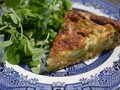Gluten-free cheesy broad bean and bacon quiche