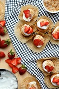 Gluten-free dairy-free angel food cupcakes with strawberries