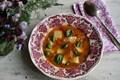 Gluten-free gnocchi in tomato and basil broth