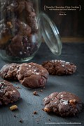 Gluten free Nutella chocolate chip cookies with hazelnuts and dried strawberries