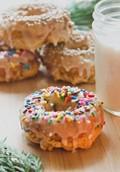 Gluten-free vanilla spice sprinkle doughnuts