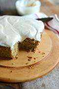 Gluten free zucchini cake with non dairy cream cheese icing