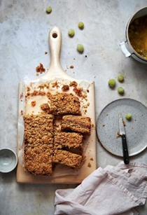 Gooseberry and oat crumble bars