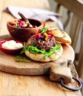 Greek beef burger with beetroot relish