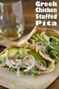Greek chicken stuffed pitas