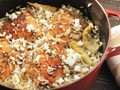 Greek-style rice pilaf with chicken thighs