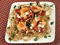 Greek-style shrimp scampi with whole wheat spaghetti