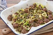 "Green ""spaghetti"" & meatballs"