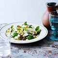 Griddled courgettes with ricotta and fregola