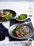 Grilled Barnsley chops with crushed peas and mint sauce