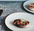Grilled boneless salmon steaks with horseradish dill butter
