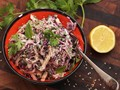 Grilled chicken and cabbage salad with creamy tahini dressing