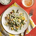 Grilled corn, crab, and asparagus salad