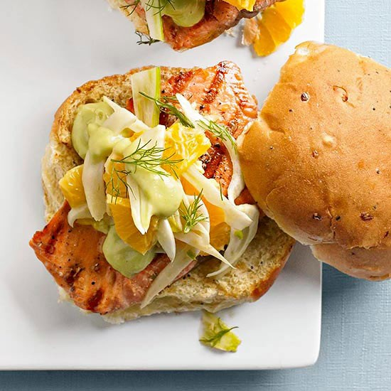 Grilled fish sandwiches with avocado spread from Better Homes and ...