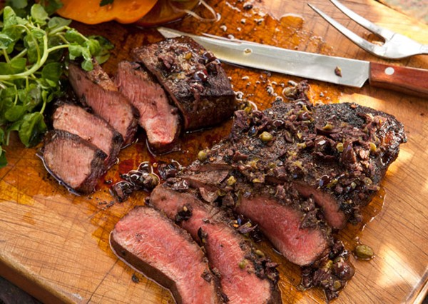 Grilled flatiron steaks with tomatoes and tapenade (page 66)