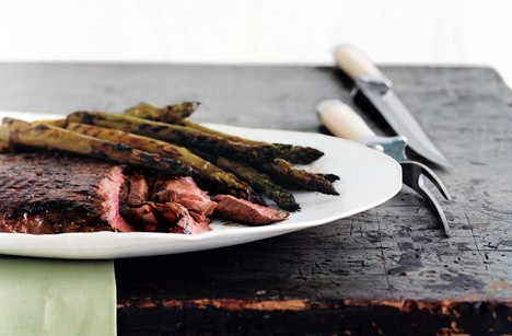 Pan-grilled flank steak with soy-mustard sauce (page 96)
