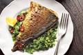 Grilled masala fish with coriander salad, chutney and yoghurt