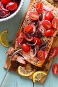 Grilled Mediterranean cedar plank salmon