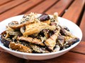 Grilled mixed mushrooms with sesame dressing
