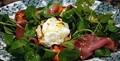 Grilled peach lackshinken & gruth salad