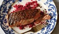 Grilled salmon with horseradish and pickled beet sauce