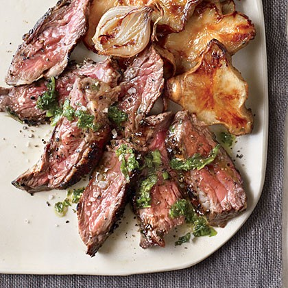Grilled skirt steak with mint chimichurri and honey-roasted sunchokes ...