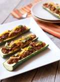 Grilled zucchini boats with beef & cheddar
