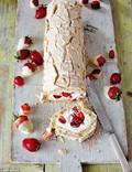 Hazelnut & summer berry roulade