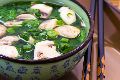 Healing Asian soup with ginger from Kalyn's Kitchen by Kalyn Denny