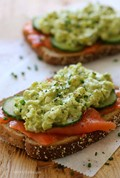 Healthy avocado egg salad and salmon sandwich